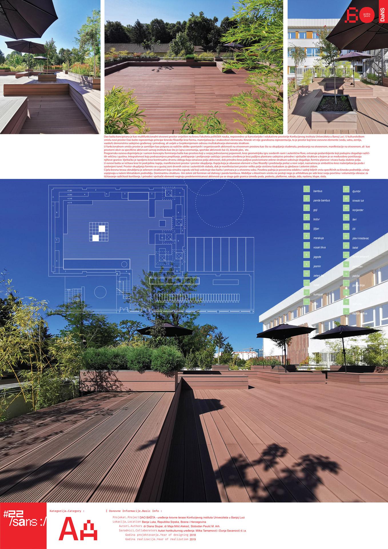 """<p class=""""naslov-br"""">aa39</p>DAO BAŠTA - uređenje krovne terase Konfucijevog instituta Univerziteta u Banjoj Luci // DAO GARDEN - Design of the Confucius Institute of the University of Banja Luka Roof Terrace"""