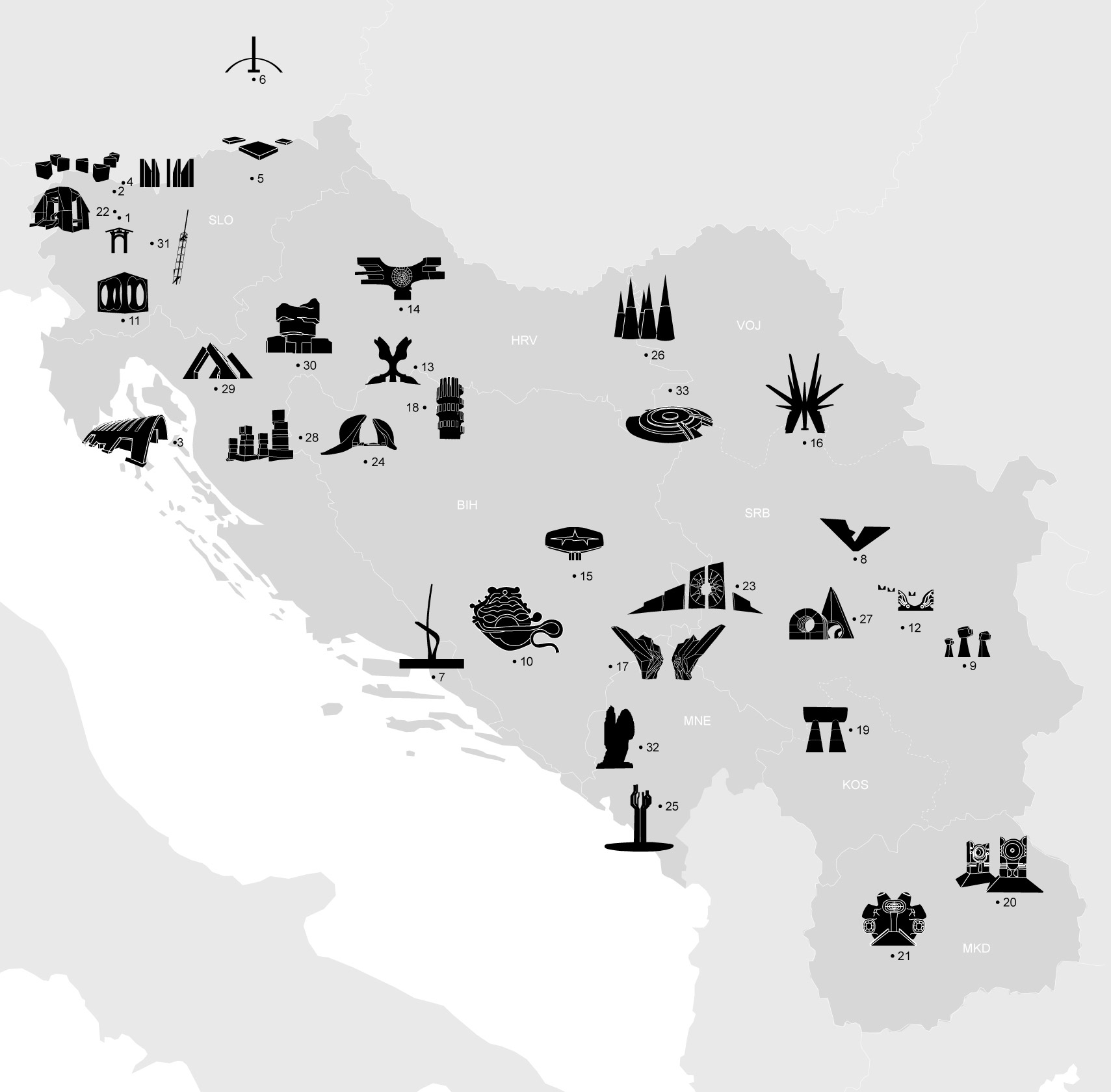 Black and white map of SFR Yugoslavia