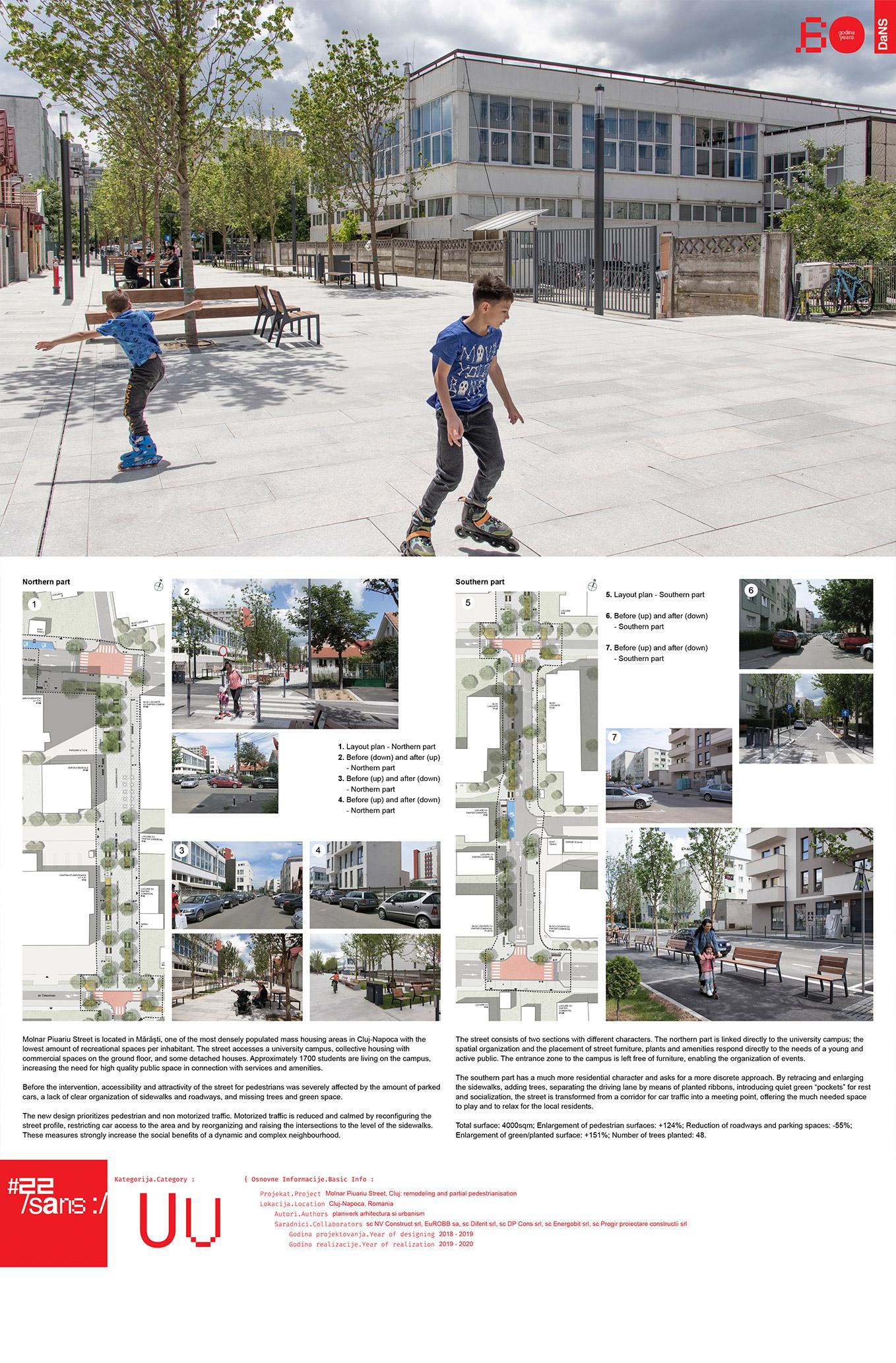 """<p class=""""naslov-br"""">uu01</p>Ulica Molnar Piuariu, Kluž: preprojektovanje i delimično uvođenje pešačke zone // Molnar Piuariu Street, Cluj: remodeling and creating a partial pedestrian zone"""